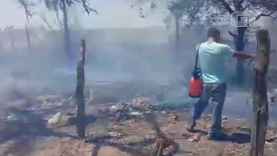 Incêndio quase atinge casas e causa pânico entre moradores em São João do Piauí
