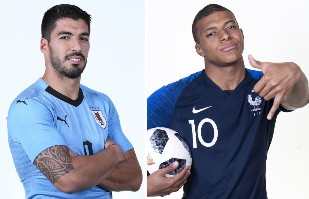 Suárez, Uruguai, Mbappé, França (Foto: Jan Kruger e Laurence Griffiths/FIFA via Getty Images)