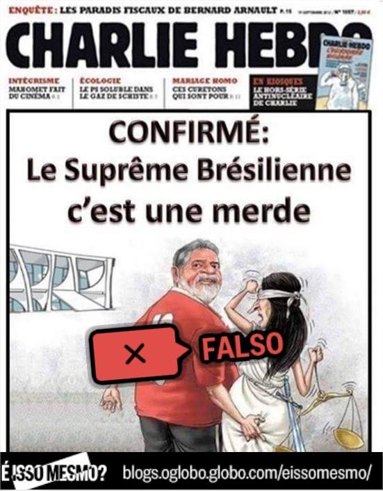 Capa do jornal Chalie Hebdo que estampa charge de Lula é falsa