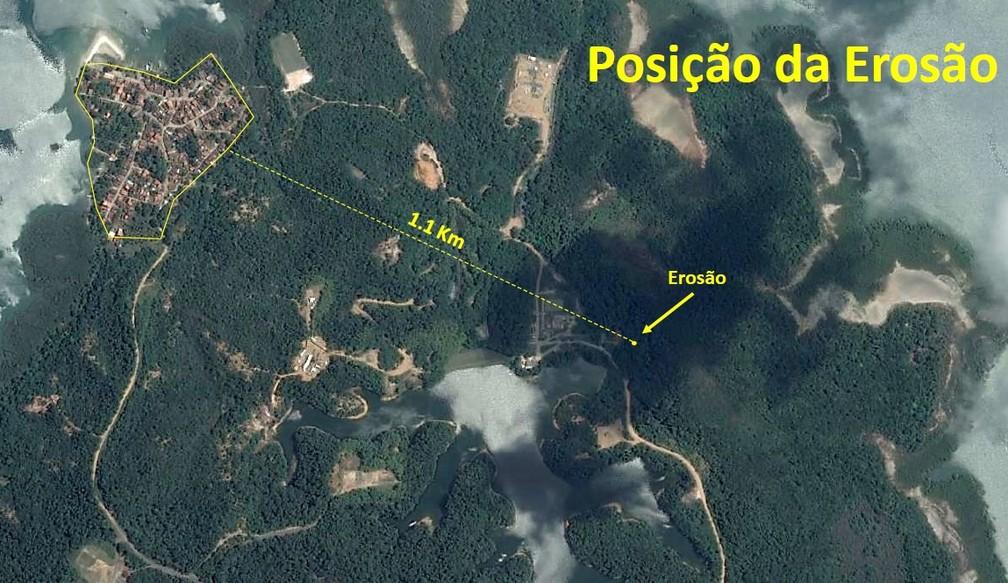 Cratera está a 1,1 km da localidade de — Foto: Divulgação/Dow Química