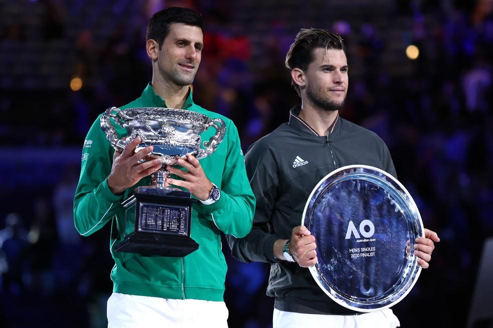 Final de 2020 foi disputada por Novak Djokovic e Dominic Thiem — Foto: Getty Images