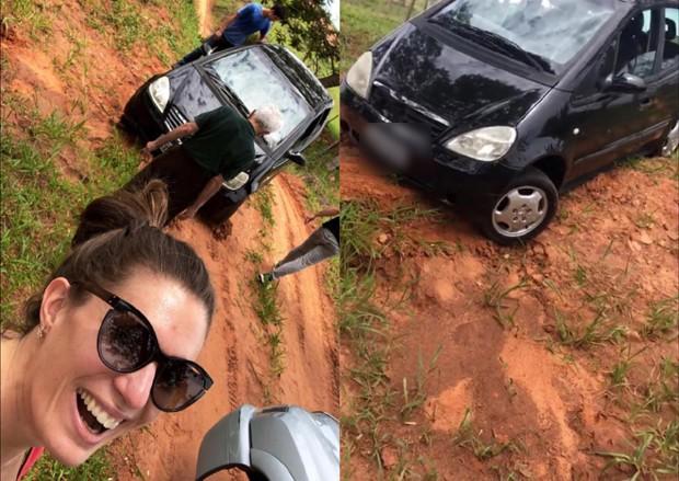 Elaine Mickely mostrando o carro atolado  (Foto: Reprodução/Instagram)