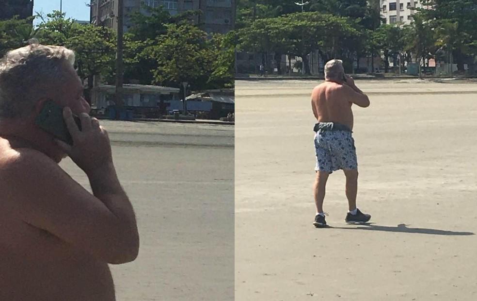 Fotos mostram desembargador sem máscara em praia de Santos, SP — Foto: G1 Santos
