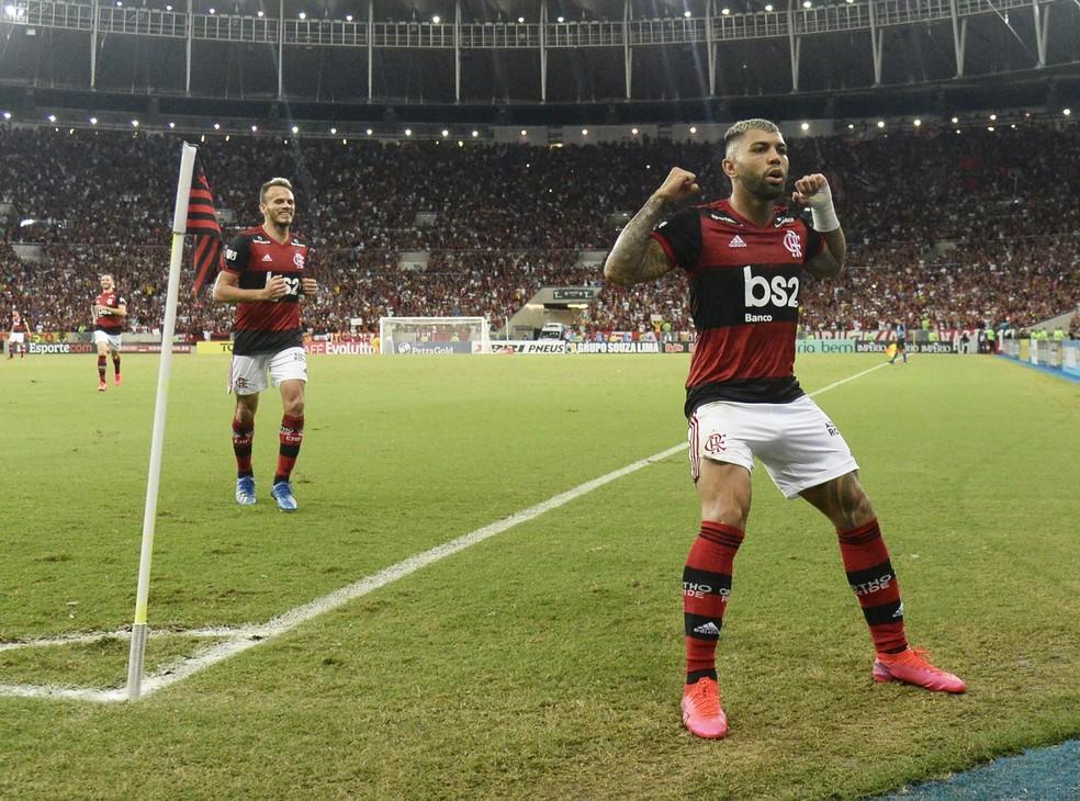 Gabigol comemora em Flamengo x Botafogo — Foto: André Durão