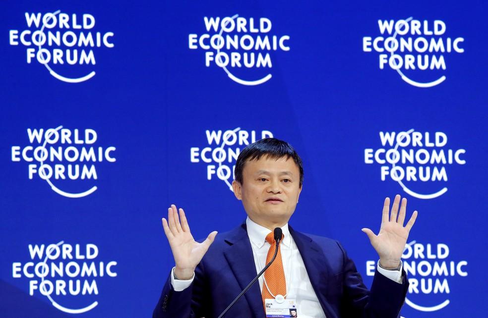 Imagem de arquivo de Jack Ma, fundador da Alibaba, no Fórum Econômico Mundial, em Davos, em 2018 — Foto: REUTERS/Denis Balibouse