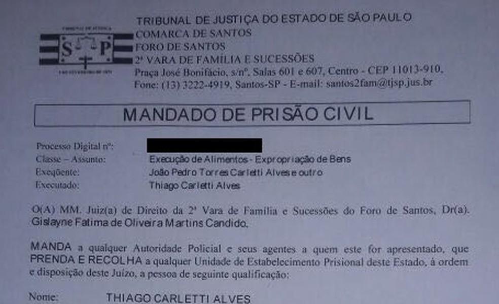 Mandado de prisão expedido em março contra o jogador do Coxa (Foto: Reprodução)