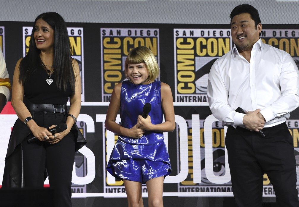 Salma Hayek, Lia McHugh e Don Lee são confirmados no elenco de 'Os Eternos' na Comic-Con San Diego — Foto: Chris Pizzello/AP