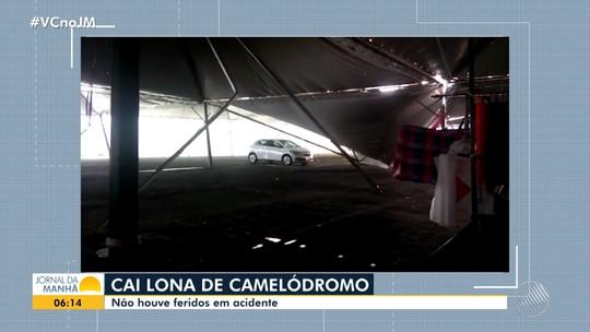 Forte ventania derruba cobertura de camelódromo no oeste da Bahia