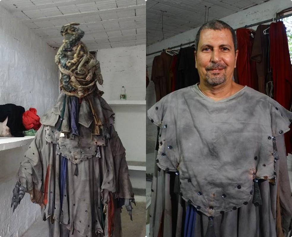 Arnaldo Siqueira interpreta o demônio que tenta Jesus no horto das oliveiras (Foto: Joalline Nascimento/G1)