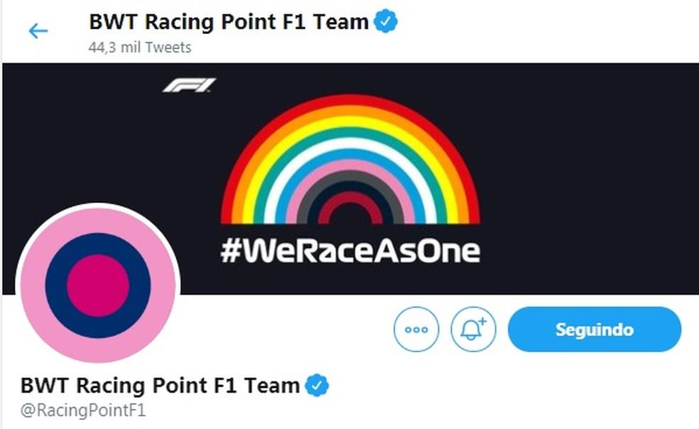 Racing Point coloca arco-íris em sua rede social para promover diversidade — Foto: Reprodução/rede social