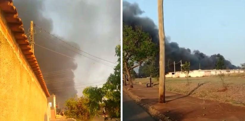 Bombeiros controlam incêndio em garagem de ônibus desativada em Lençóis Paulista