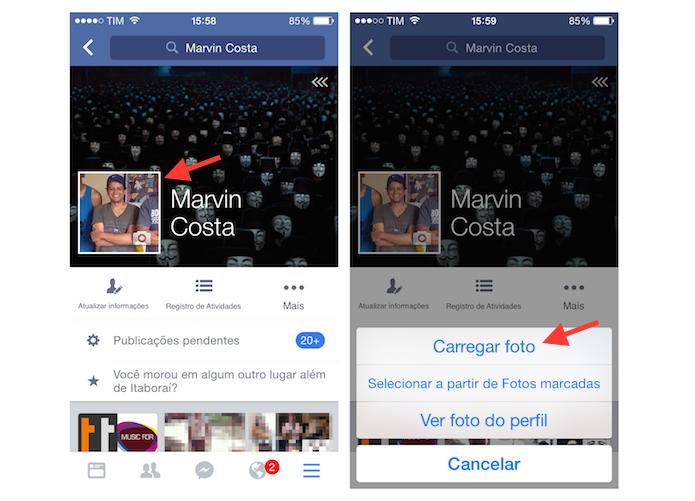 Acessando as fotos do iPhone para alterar a imagem de perfil no Facebook (Foto: Reprodução/Marvin Costa)