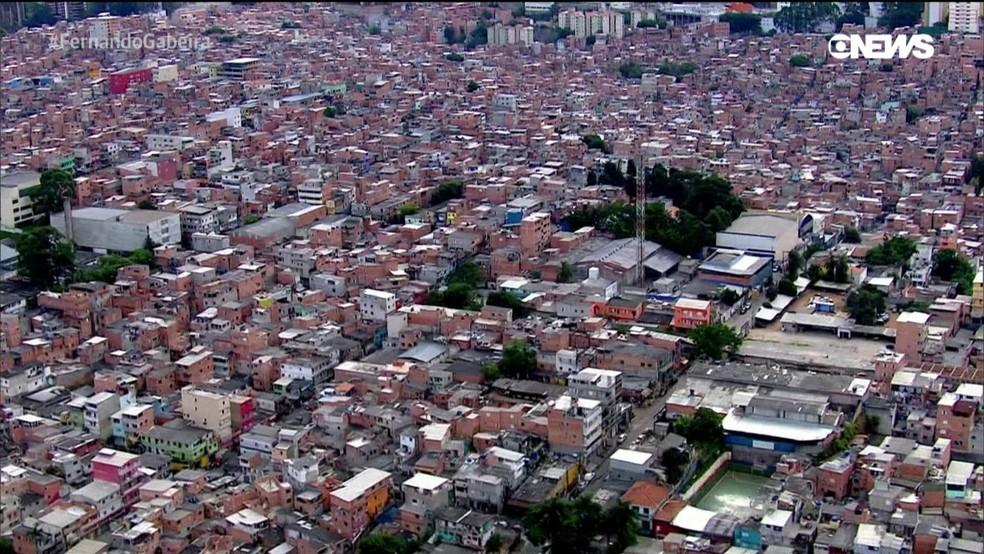 Vista da favela de Paraisópolis, Zona Sul de SP — Foto: Reprodução GloboNews
