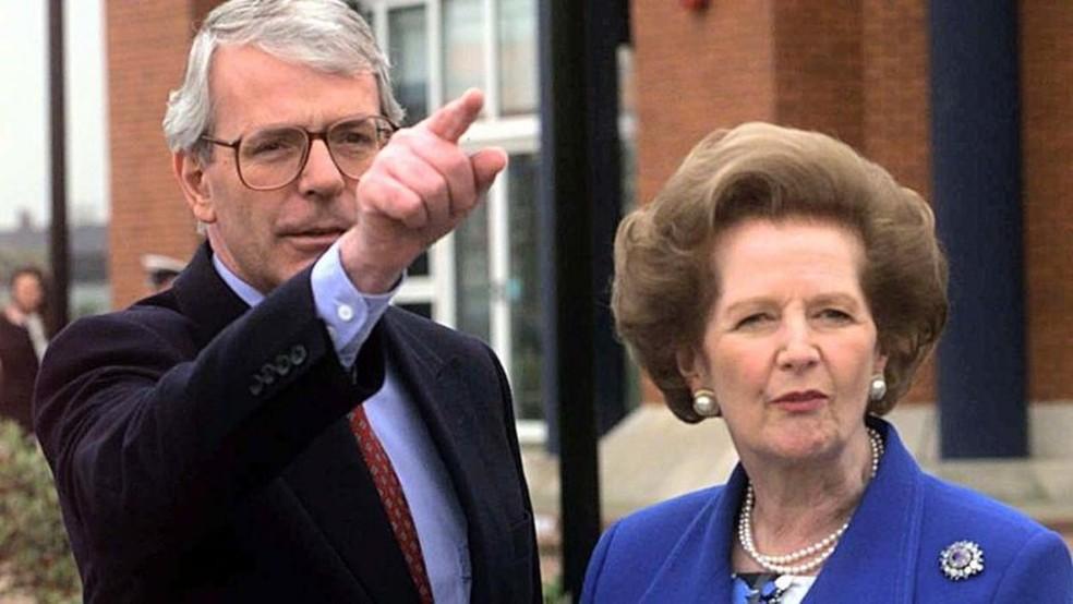 John Major sucedeu Thatcher como líder dos Conservadores e primeiro-ministro — Foto: PA Media via BBC