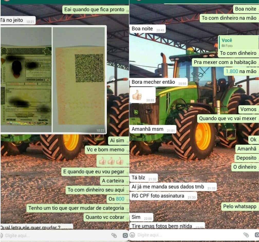 Cliente negocia CNH falsa com suspeito no WhatsApp (Foto: Extra de Rondônia/Reprodução)