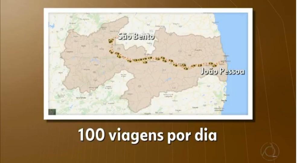 Com esse dinheiro, é possível fazer mais de 9 mil viagens da cidade para a capital João Pessoa, equivalente a mais de 100 viagens por dia (Foto: Reprodução / Tv Cabo Branco)