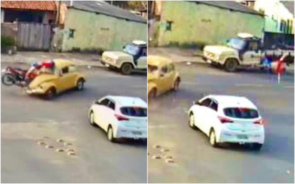 Motociclista foi arremessado após bater em Fusca, em São Miguel Arcanjo — Foto: Reprodução