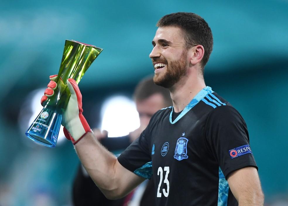 O goleiro Unai Simón foi um dos destaques da Espanha na Euro 2020  — Foto: Kirill Kudryavtsev/Reuters