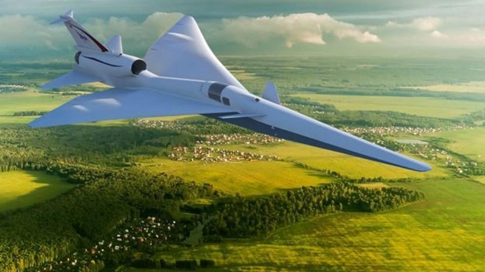 A Nasa quer desenvolver aeronaves que não gerem 'estrondo sônico' ao quebrar a barreira do som — Foto: Nasa