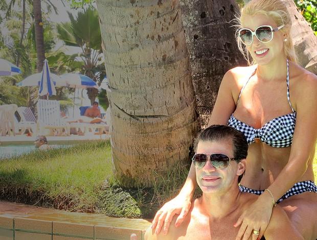 Túlio Maravilha esposa piscina (Foto: Janir Júnior)