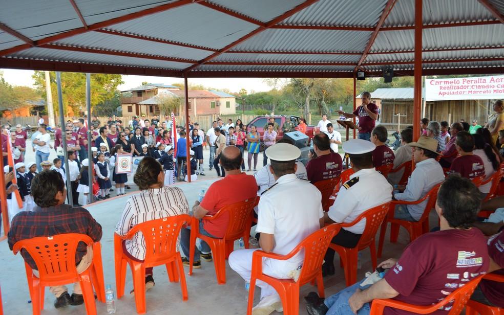 Solenidade de recepção da Rila em Carmelo Peralta, Paraguai (Foto: Anderson Viegas/ G1 MS)