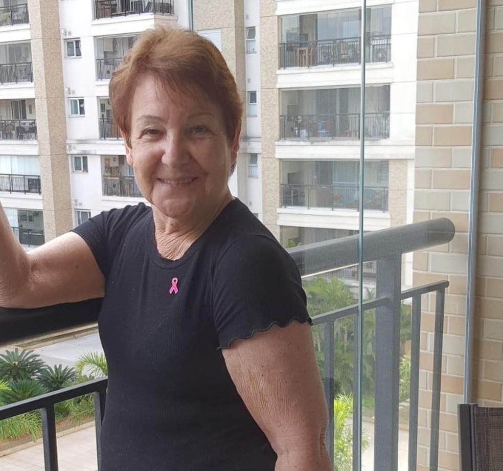 Doracilde foi diagnosticada com câncer de mama metastático em janeiro. Ela teve que entrar na Justiça contra o plano de saúde para ter acesso ao tratamento, que custa R$18 mil por mês. — Foto: Arquivo pessoal