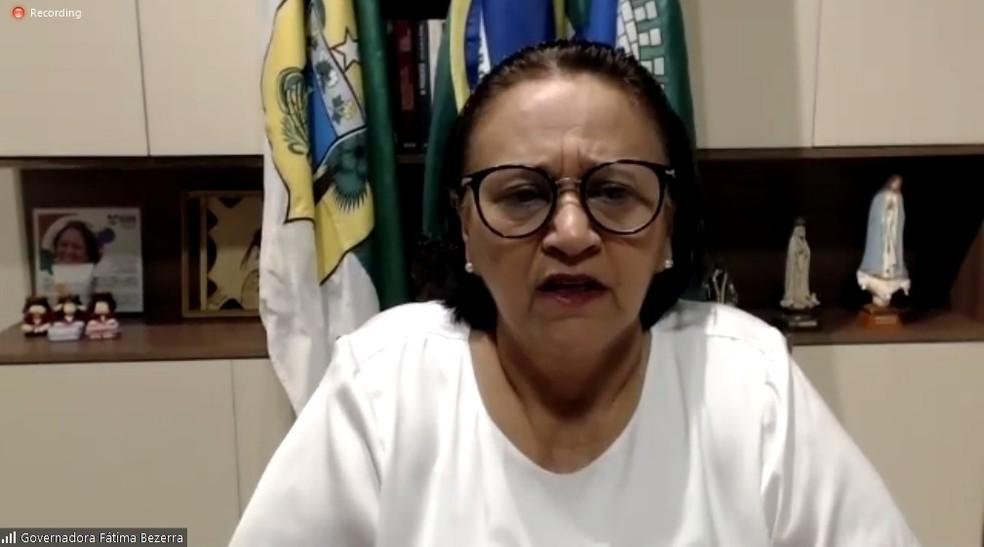 Governadora Fátima Bezerra concedeu entrevista coletiva sobre novo decreto de enfrentamento à Covid-19 — Foto: Reprodução