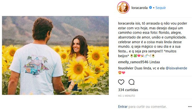 Carolina Dieckmann conta que não vai ao casamento de Isis Valverde (Foto: Reprodução Instagram)
