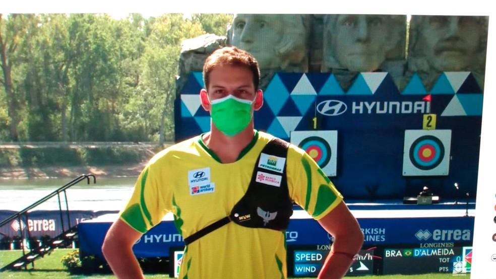 Marcus Vinicius no Mundial de tiro com arco — Foto: Reprodução