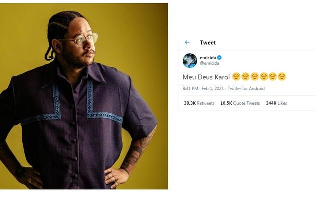 Emicida compartilhou no Twitter uma frase indicando sua decepção com a rapper no 'BBB' 21 (Foto: Reprodução)