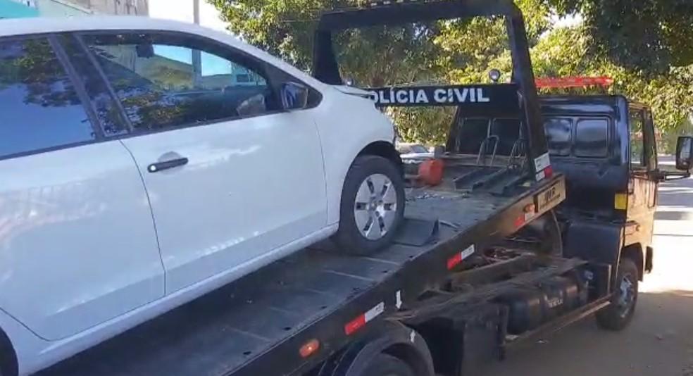 Carro apreendido para perícia na Polícia Civil após acidente no Lago Sul — Foto: Reprodução