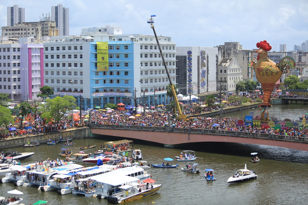 Galo da Madrugada levou duas milhões de pessoas para as ruas do Centro do Recife, neste Sábado de Zé Pereira (10) (Foto: Rafael Medeiros/G1)