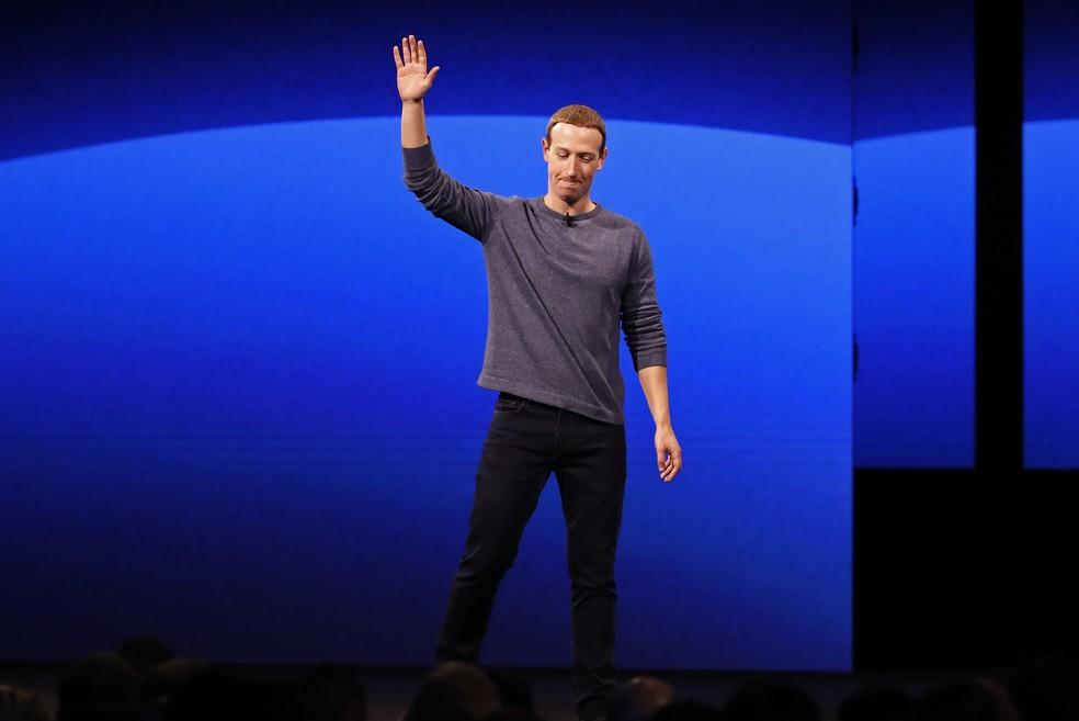 Mark Zuckerberg no encontro anual do Facebook neste mês, na Califórnia — Foto: Stephen Lam/Reuters