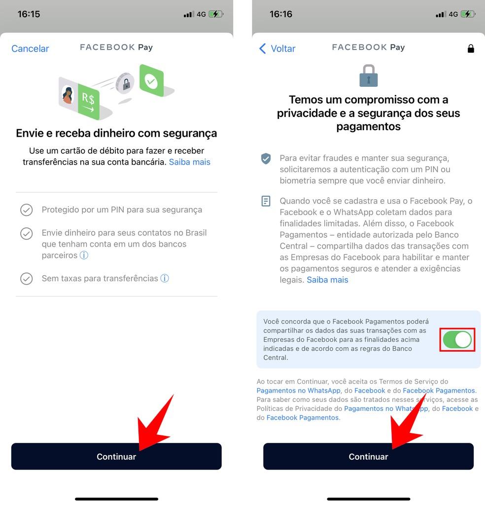É preciso aceitar os termos de uso do Facebook Pay para fazer pagamentos no WhatsApp — Foto: Reprodução/Rodrigo Fernandes