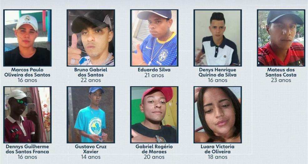 Veja fotos dos mortos em Paraisópolis — Foto: TV Globo/Reprodução