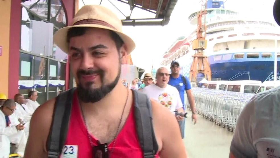 Turista paulista diz que sempre foi um sonho conhecer o Rio (Foto: Reprodução / Tv Globo)
