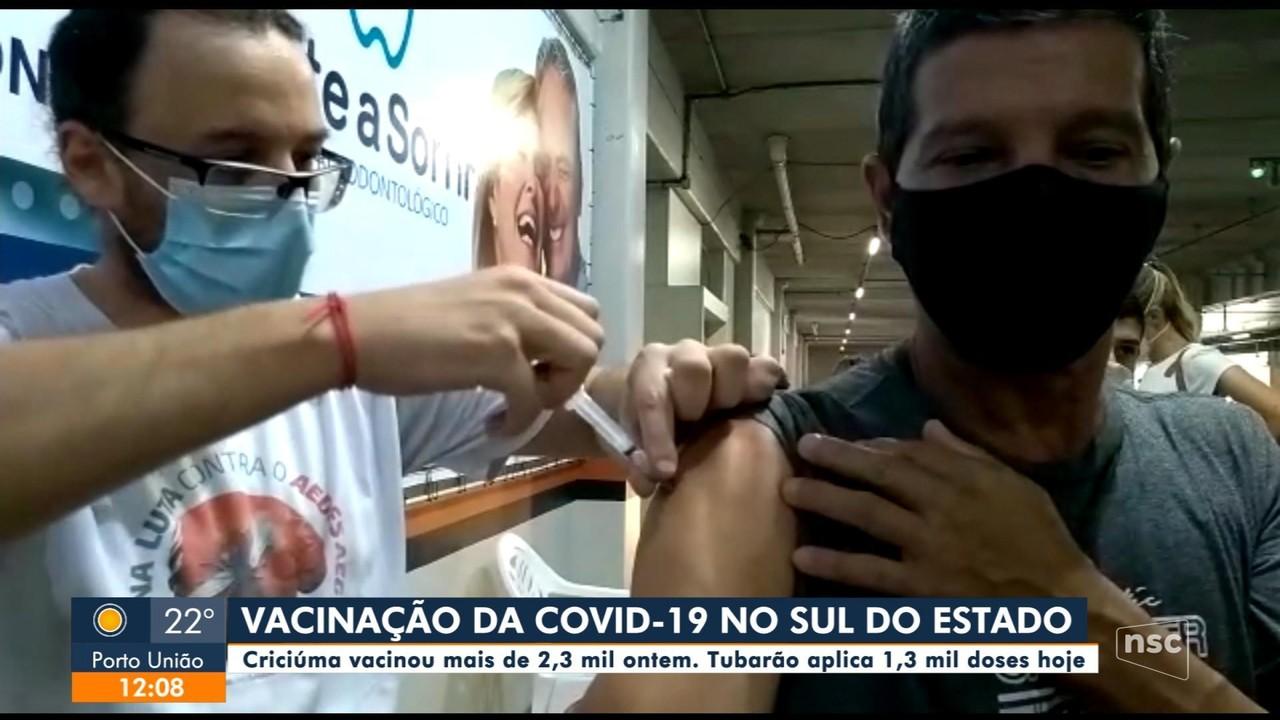Cidades do Sul de SC vacinam população contra a Covid-19