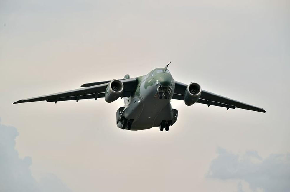 Cargueiro militar KC-390 terá produção seriada de 28 unidades para a Força Aérea Brasileira — Foto: Embraer/Divulgação