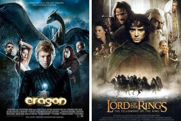 Pôsteres de Eragon e O Senhor dos Anéis (Foto: Reprodução)