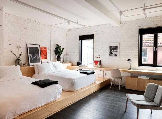 O plano aberto dos quartos confere praticidade e o design escandinavo agrega conforto (Foto: The Annex Hotel/ Reprodução)