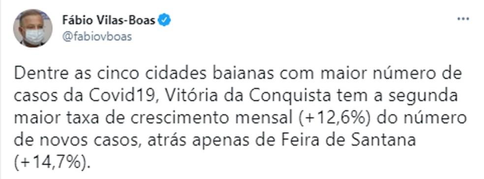 Secretário de Saúde revela que Feira de Santana e Vitória da Conquista têm as maiores taxas de crescimento mensal de novos casos — Foto: Reprodução / Redes Sociais