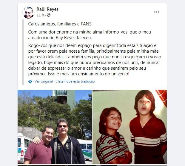 Ray Reyes, ex-menudo, morre aos 51 anos (Foto: Reprodução/Facebook)