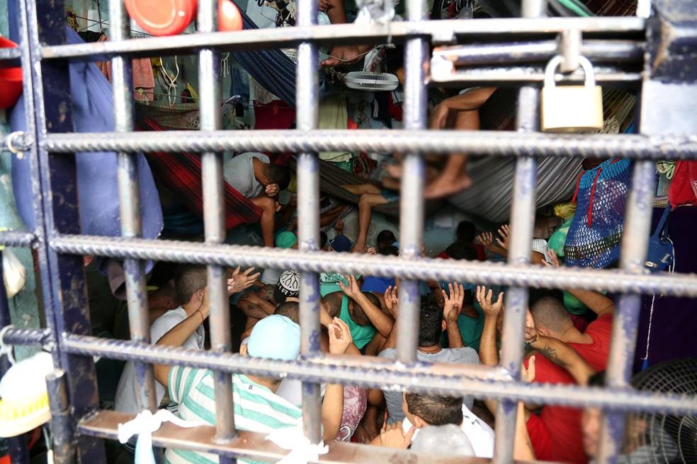 Cela superlotada na Casa de Prisão Provisória de Paraíso do Tocantins — Foto: Defensoria/Divulgação