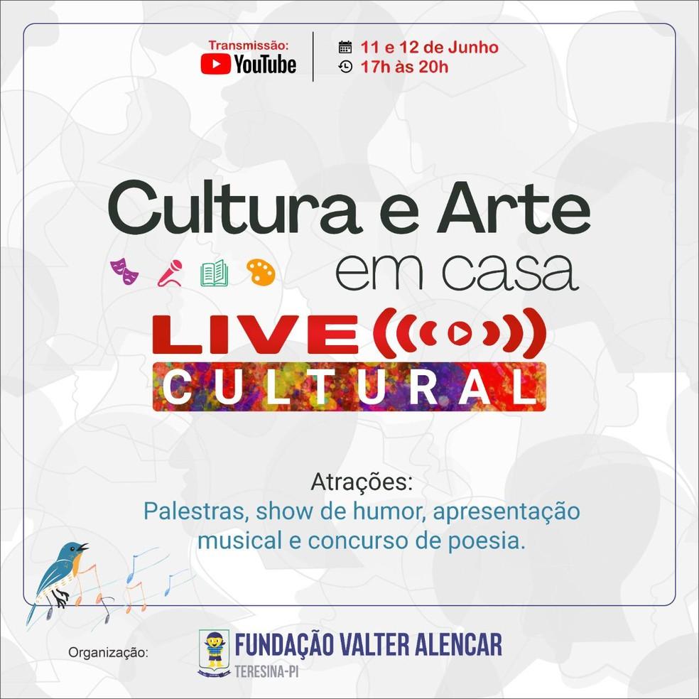 Projeto Cultura e Arte em Casa — Foto: Fundação Valter Alencar
