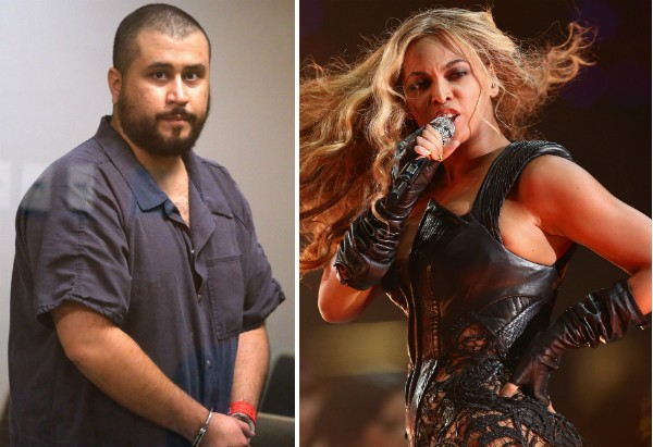 O segurança George Zimmerman e a cantora Beyoncé (Foto: Getty Images)