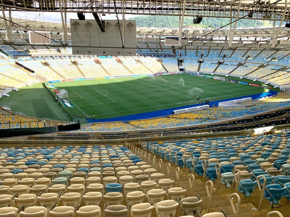 Maracanã com portões fechados para Flamengo x Portuguesa, como medida de prevenção ao Coronavírus — Foto: André Durão