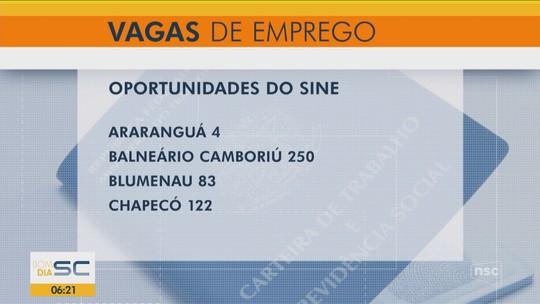 Sine oferece 1.396 vagas de emprego em 21 cidades de Santa Catarina