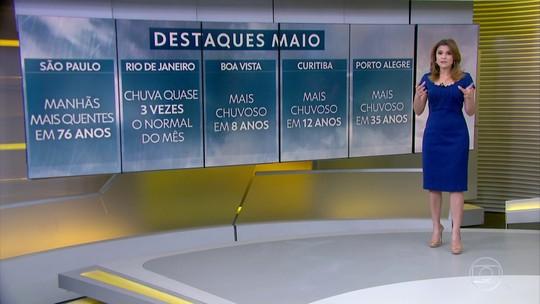 Maio termina com recorde de chuva em Porto Alegre, Curitiba e Boa Vista