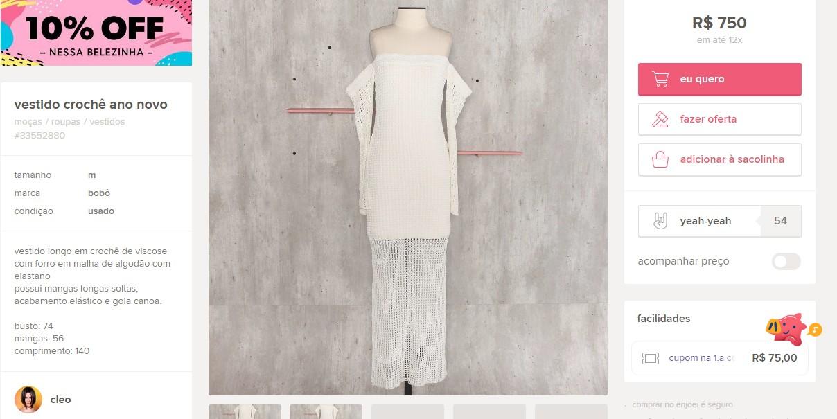 Vestido à venda (Foto: Reprodução/Instagram)