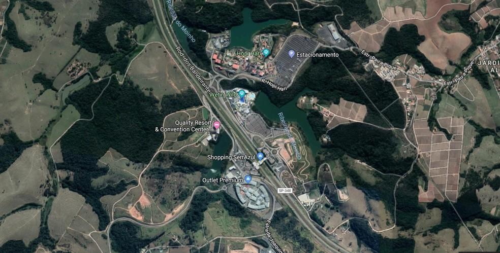 Outlet Premium fica localizado em Itupeva, próximo aos parques Wet'n Wild e Hopi Hari — Foto: Reprodução/Google